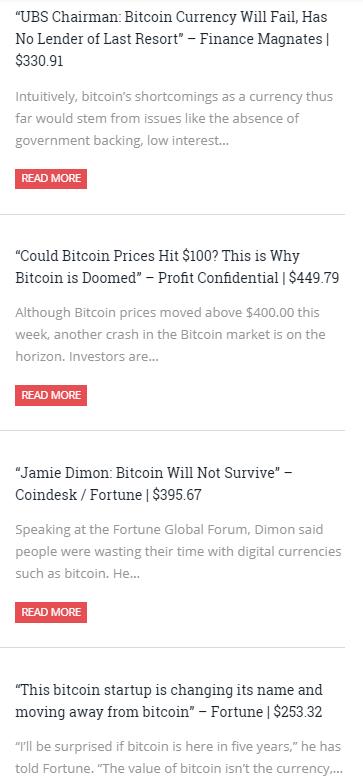Zitate die das baldige Ende von Bitcoin voraussagen,. Aus dem Jahr 2015. Am Ende der Überschrift der damalige Kurs von Bitcoin in US Dollar.
