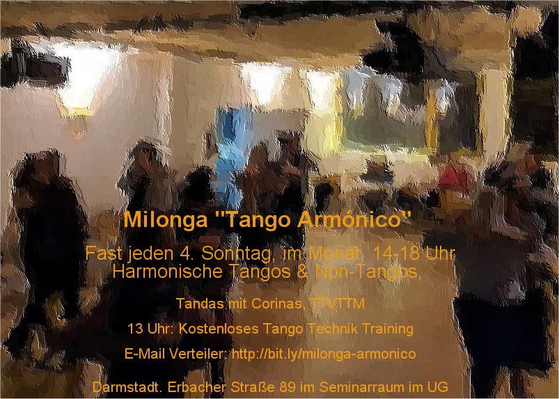 "Milonga ""Tango Armónico"" :  Harmonische Tangos und Non-Tangos in Darmstadt"