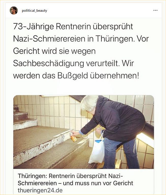 Deutsche Justiz: Verurteilt eine 73-jährige Rentnerin an, die Nazi-.Schmierereien übermalt hat.