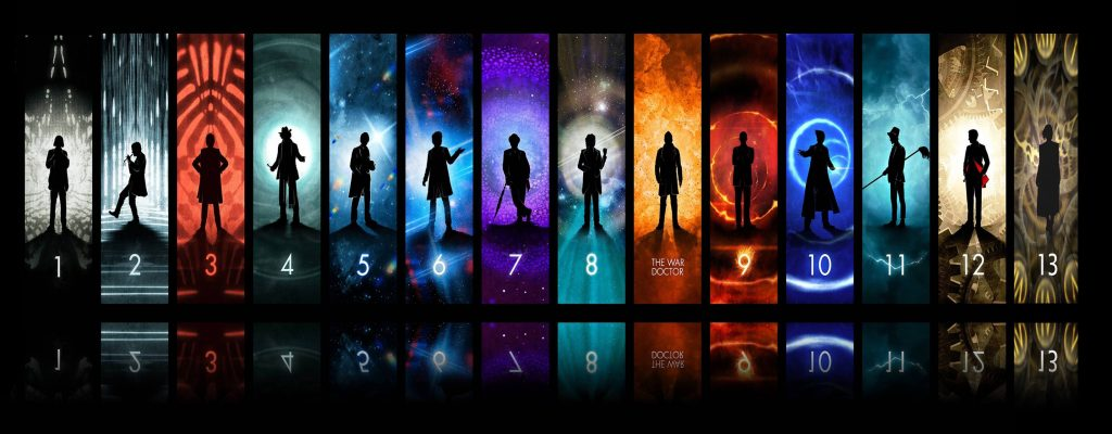 The Doctor portrayed by William Hartnell, Patrick Troughton, Jon Pertwee, Tom Baker, Peter Davison, Colin Baker, Sylvester McCoy, Paul McGann, Christopher Eccleston, David Tennant, Matt Smith, Peter Capaldi and Jodie Whittaker.