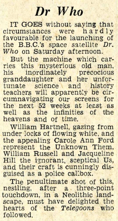"A review of the very first episode ""An Unearthly Child"" from the Daily Mail, 25 November 1963."