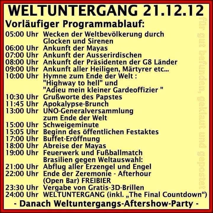 Zeitplan für den Weltuntergang