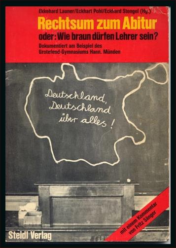 """Buchcover """"Rechtsum zum Abitur"""" - Die Kausch -Affäre am GGM in Hann. Münden"""