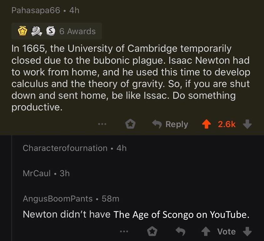 1665 Issac Newton developed his Theory of Gravity during Bobonic plague lockdown.  Today we have YouTube