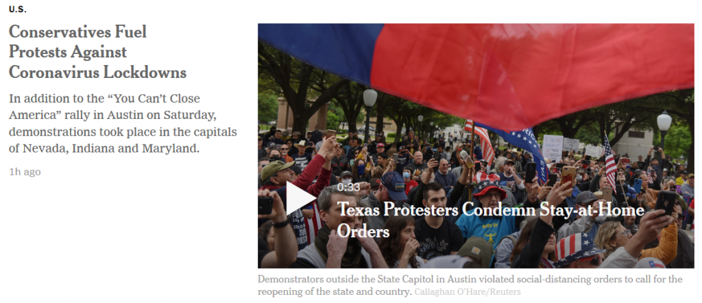 USA:  Proteste gegen den Lockdown