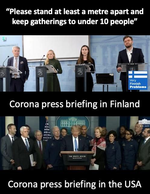 Corona Press Briefings Finnland vs. USA