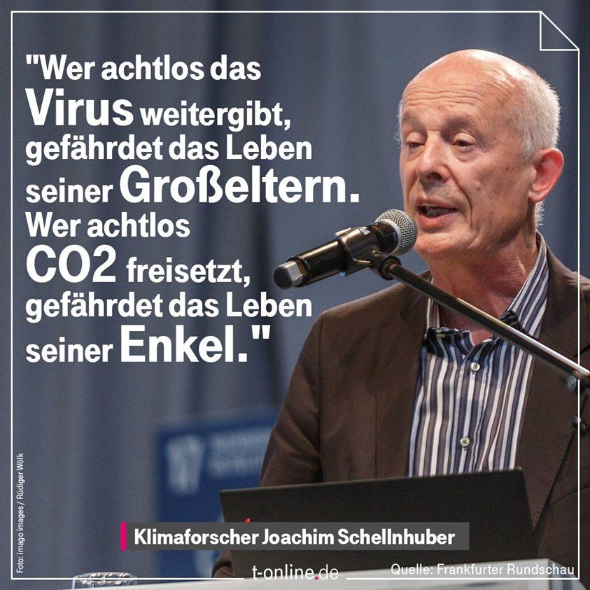 Wer Achtlos den Virus weitergibt, gfährdet das Leben seiner Großeltern. Wer achtlos CO2 freisetzt, gefährdet das Leben seiner Enkel.