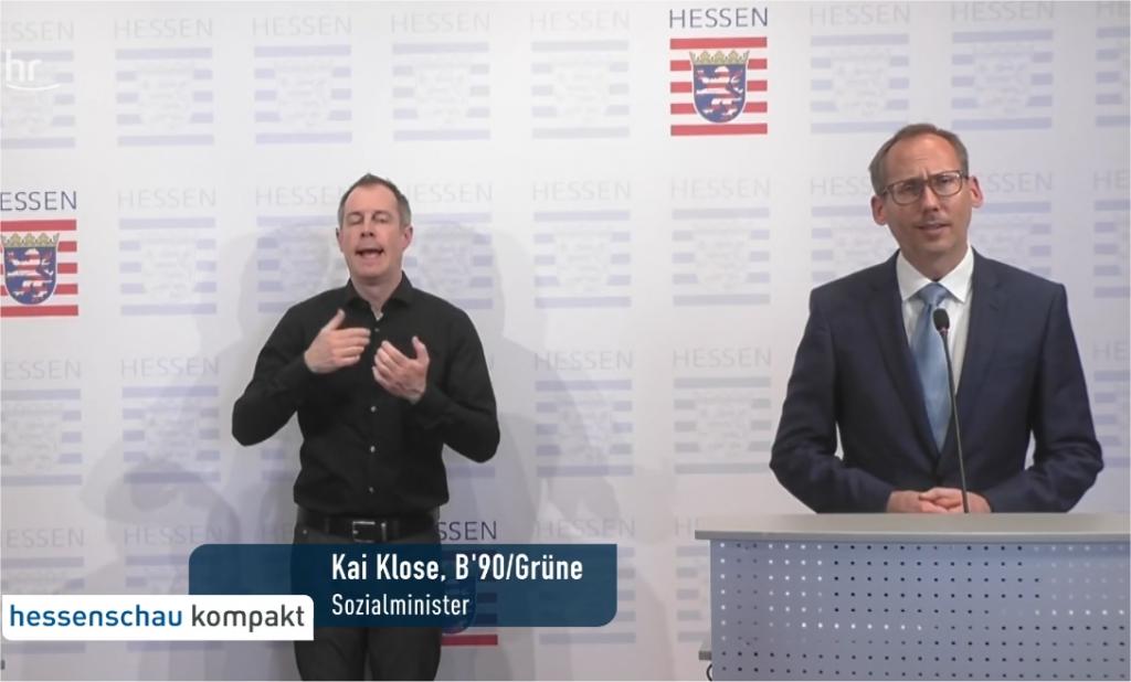 Sozialminister Kai Klose (ohne Maske) verkündet die Maskenpflicht - wie wäre es mit Vorbildfunktion?