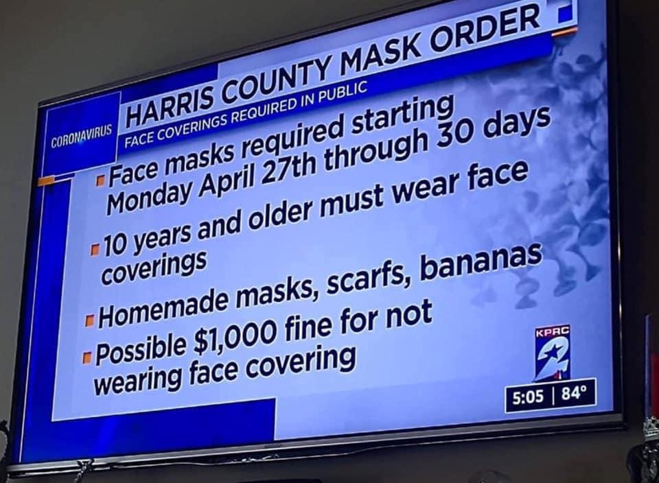 Mundschutz mit Bananen? Harris County, USA