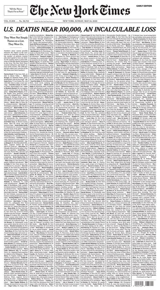 The front page of The New York Times for May 24, 2020.