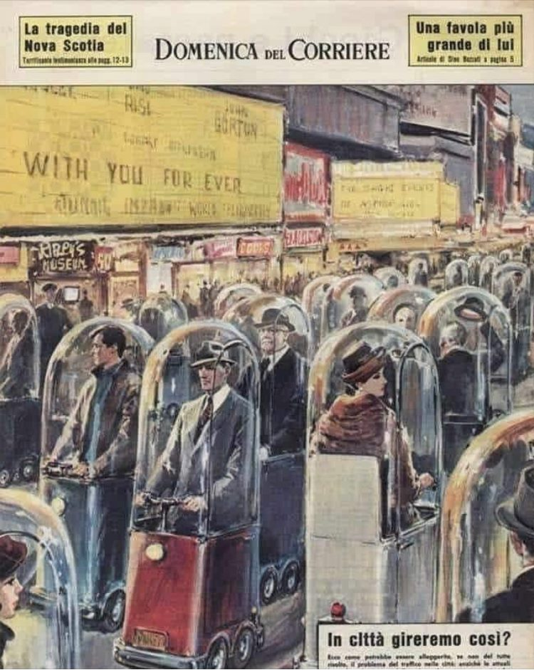 This is a 1962 illustration from the Italian magazine Domenica del Corriere depicting life in the year 2022.