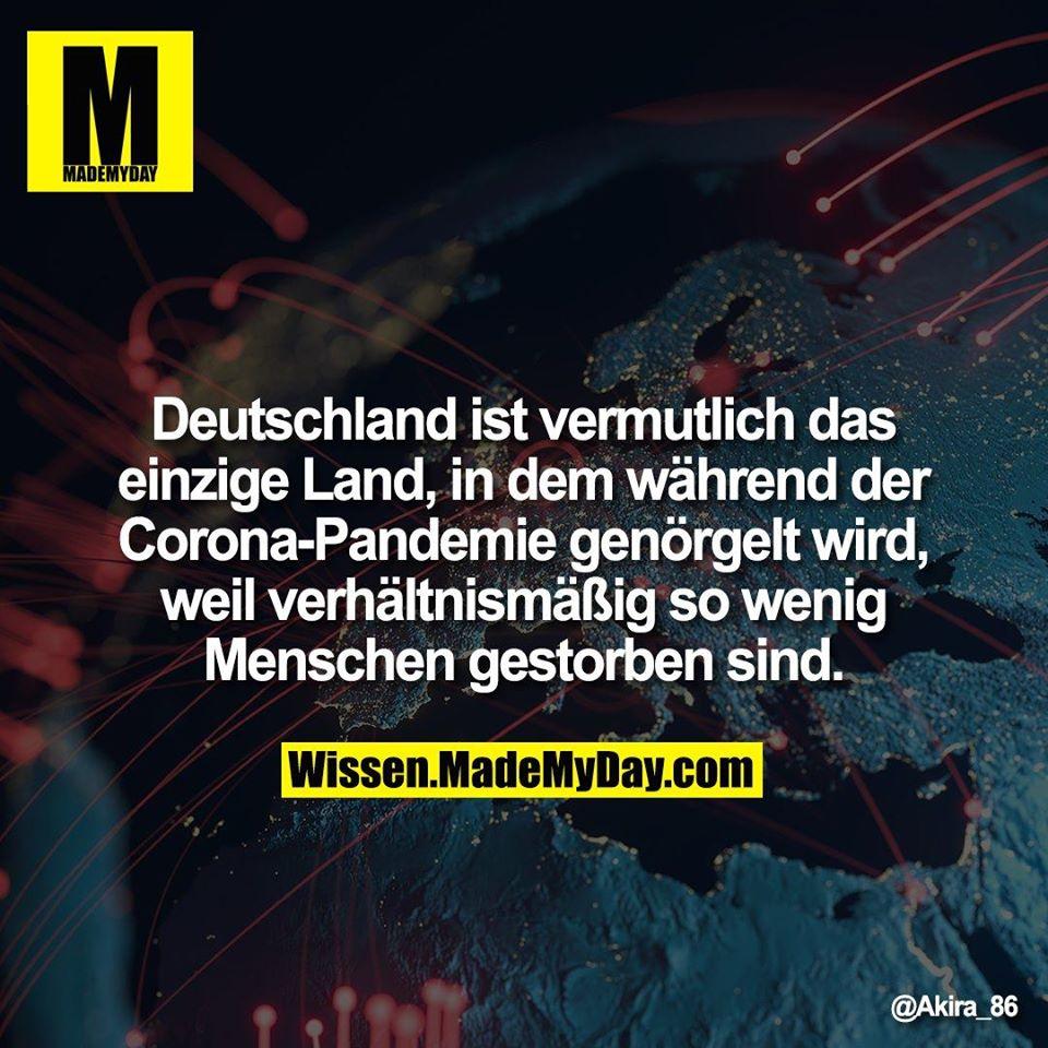 Deutschland ist vermutlich das einzigen Land, in dem während der Corona-Pandemie genörgelt wird, weil verhältnismäßig so wenig Menschen gestorben sind.