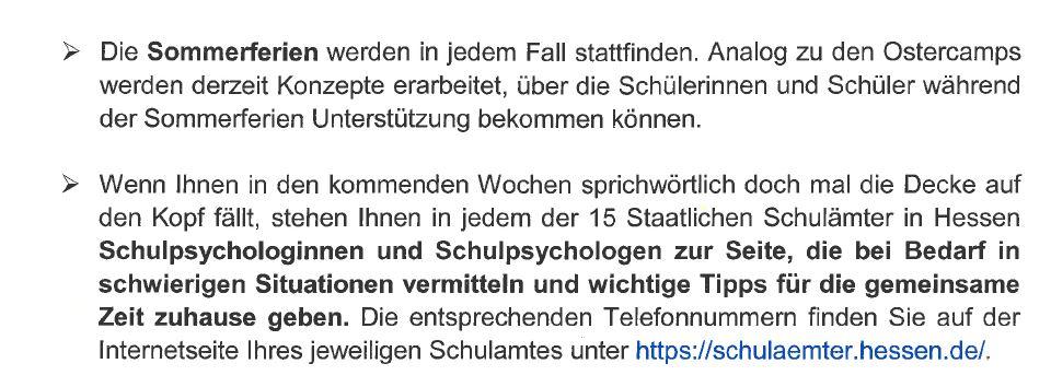 Brief des hessischen Kultusministers