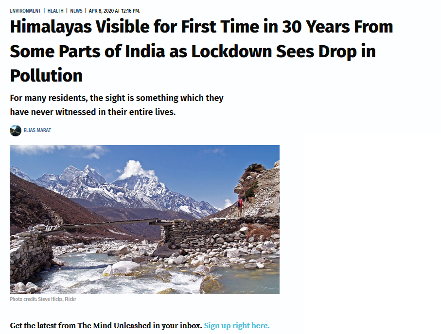 Himalayas Visible for First Time in 30 Years From Some Parts of India as Lockdown Sees Drop in Pollution