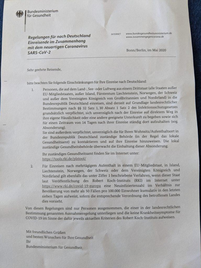 Regeln: Einreise nach Deutschland  wg. Corona