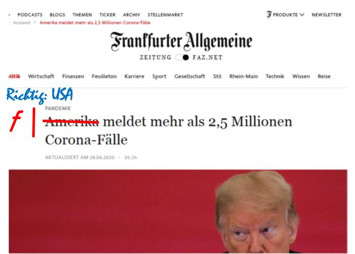 Korrektur der FAZ: Amerika statt USA