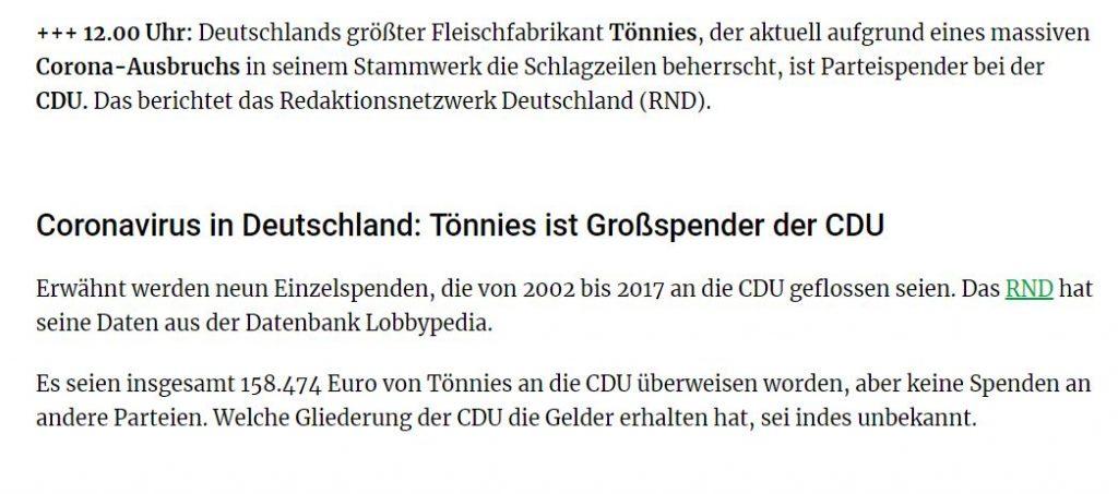 Tönnies: Großspender an die CDU