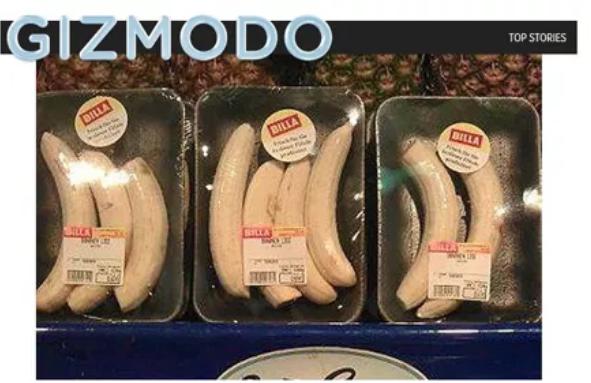 Geschälte Bananen in Plastik verpackt