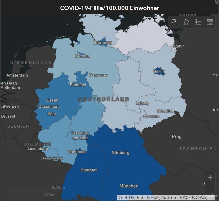 Infektionen nach Bundesländern